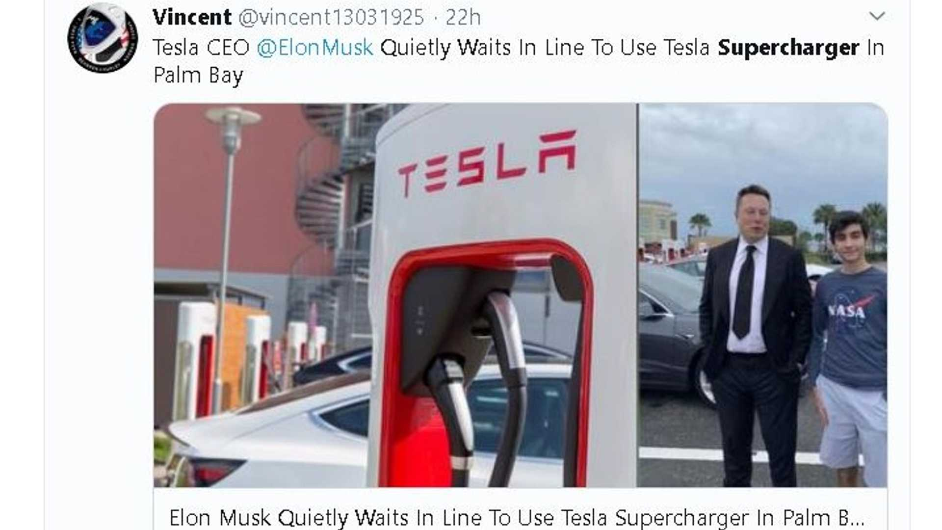 Tesla CEO Elon Musk waits for Supercharger, meets owners and fans