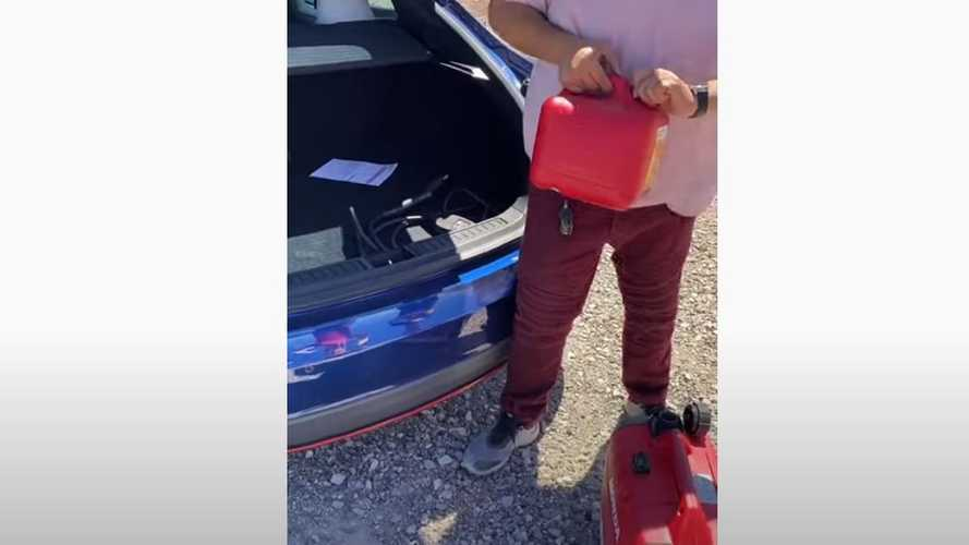 Does This Guy Really Gas Up His Tesla Model S To Extend Its Range?