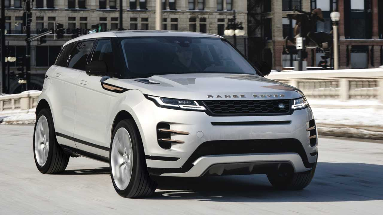 Grey Range Rover Evoque Autobiography (2021) three-quarter view from front