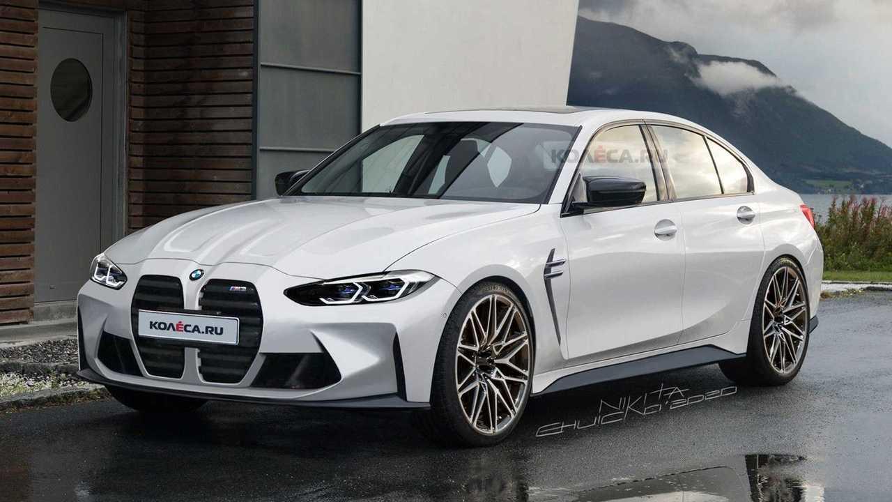 2021 BMW M3 rendering front three-quarter
