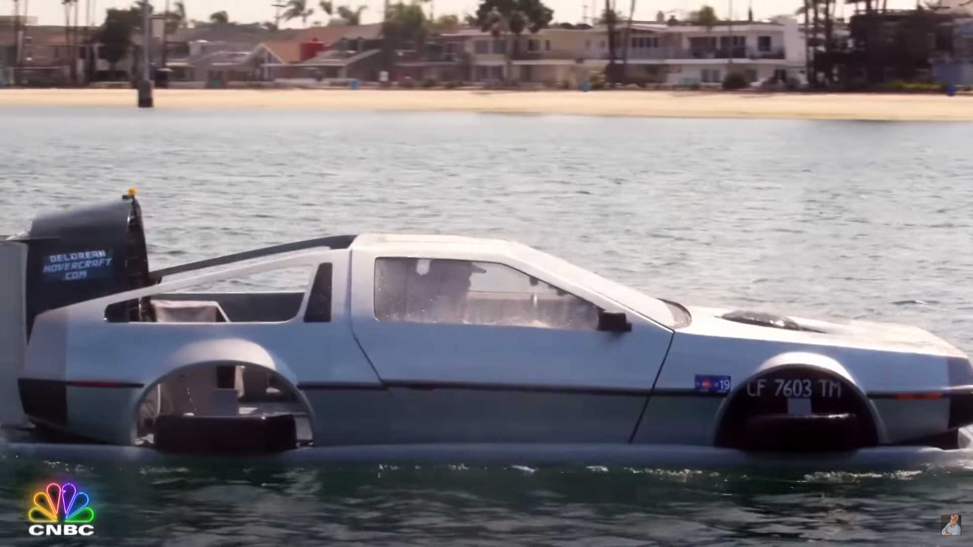 See Jay Leno live an '80's fantasy in this flying DeLorean hovercraft