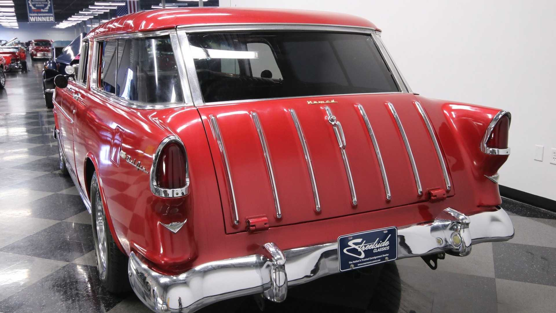 "[""1955 Chevrolet Nomad Restomod Stuns In Metallic Deep Red""]"