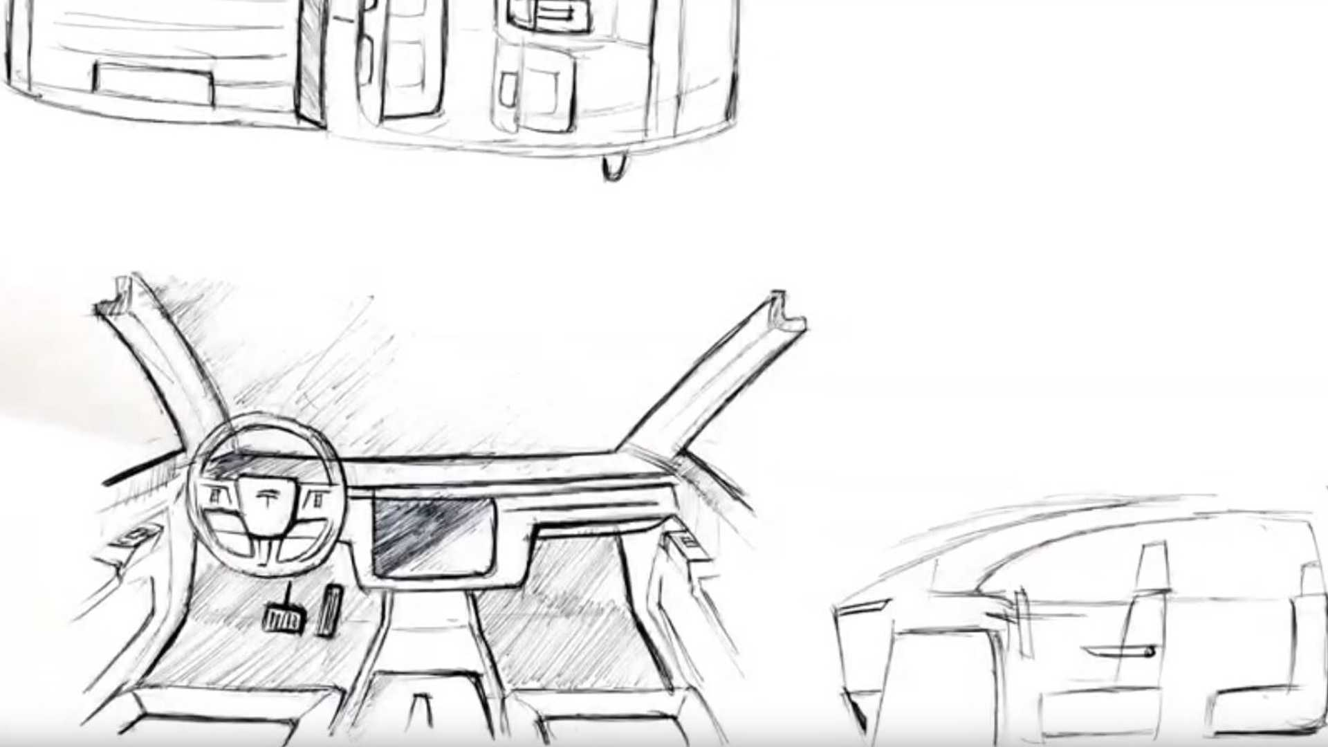 Tesla Pickup Truck Interior Sketches Combine Model 3 And Ford F 150