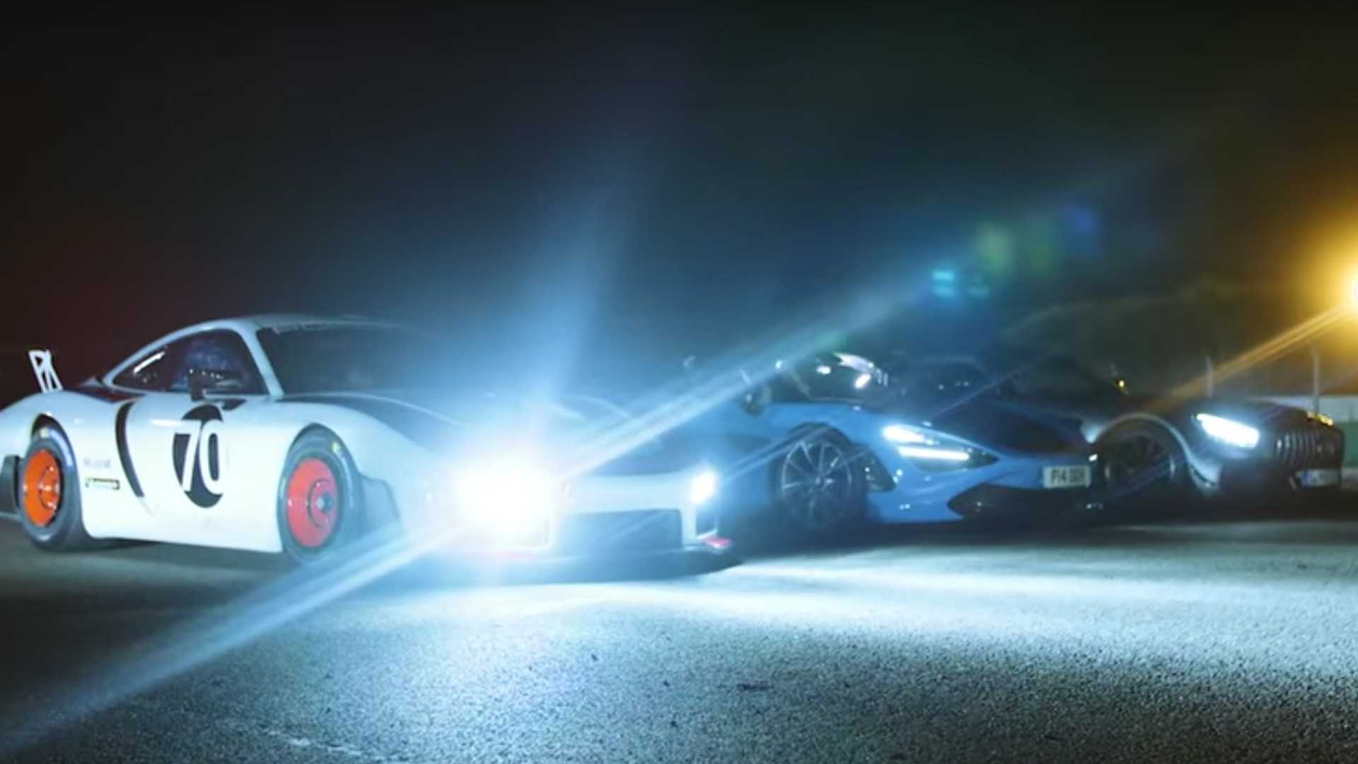 Porsche 935, AMG GT R Pro, 720S Spider drag race