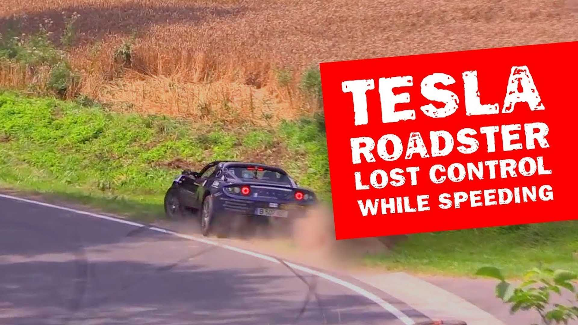 Watch Tesla Roadster Lose Control And Go Off Course Around A Track