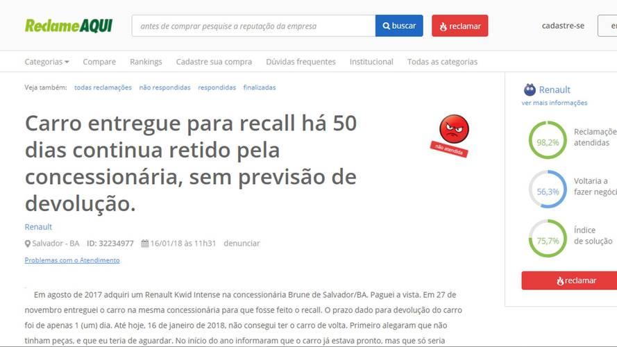 Renault Kwid - Reclamações