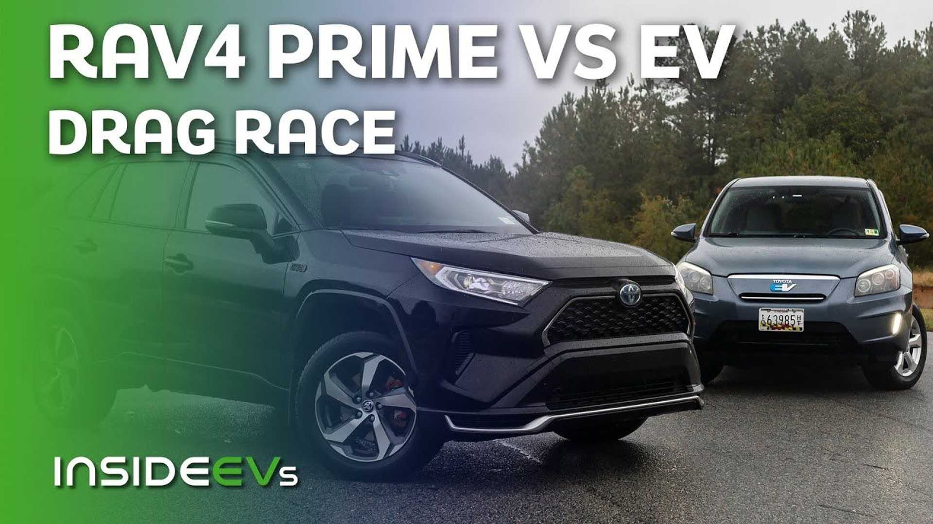 Watch Us Drag Race A Toyota RAV4 Prime Against A 2013 RAV4 EV
