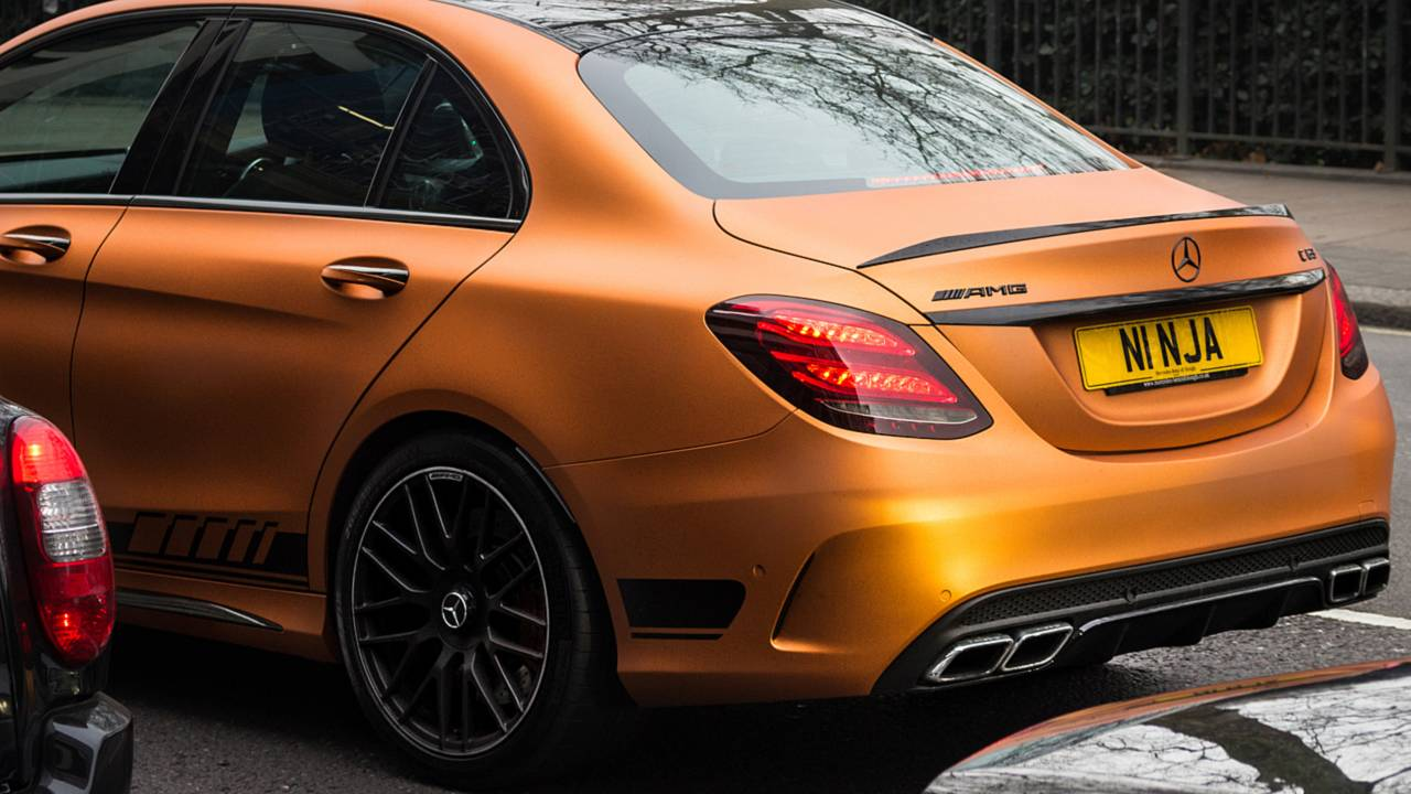 Mercedes Benz AMG C63 with custom NINJA number plates in London