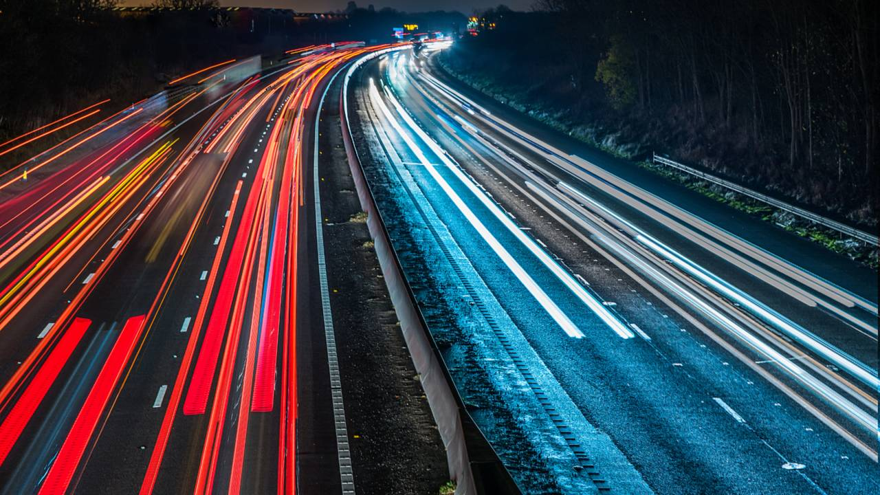 UK motorway highway night view