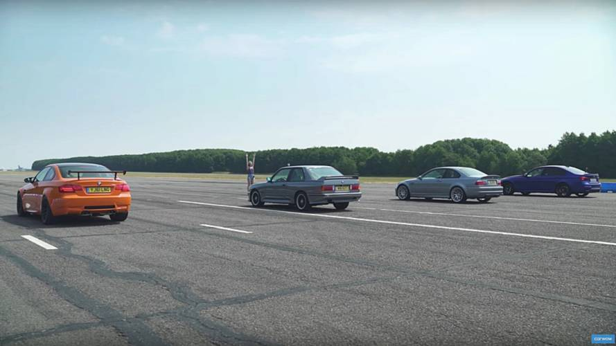 Generations of BMW M3 face each other in a drag race