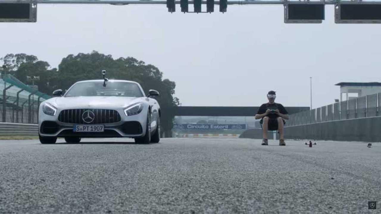 Mercedes-AMG GT Roadster Battles Drone In Unlikely Drag Race