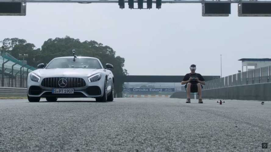 Mercedes-AMG GT Roadster battles drone in unlikely drag race