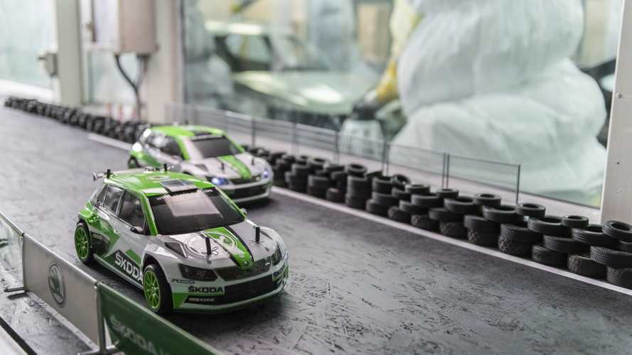 Skoda RC rally cars race while giving factory tour