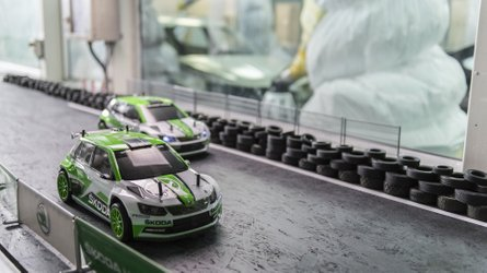 Skoda RC Rally Cars Race Each Other While Giving Factory Tour