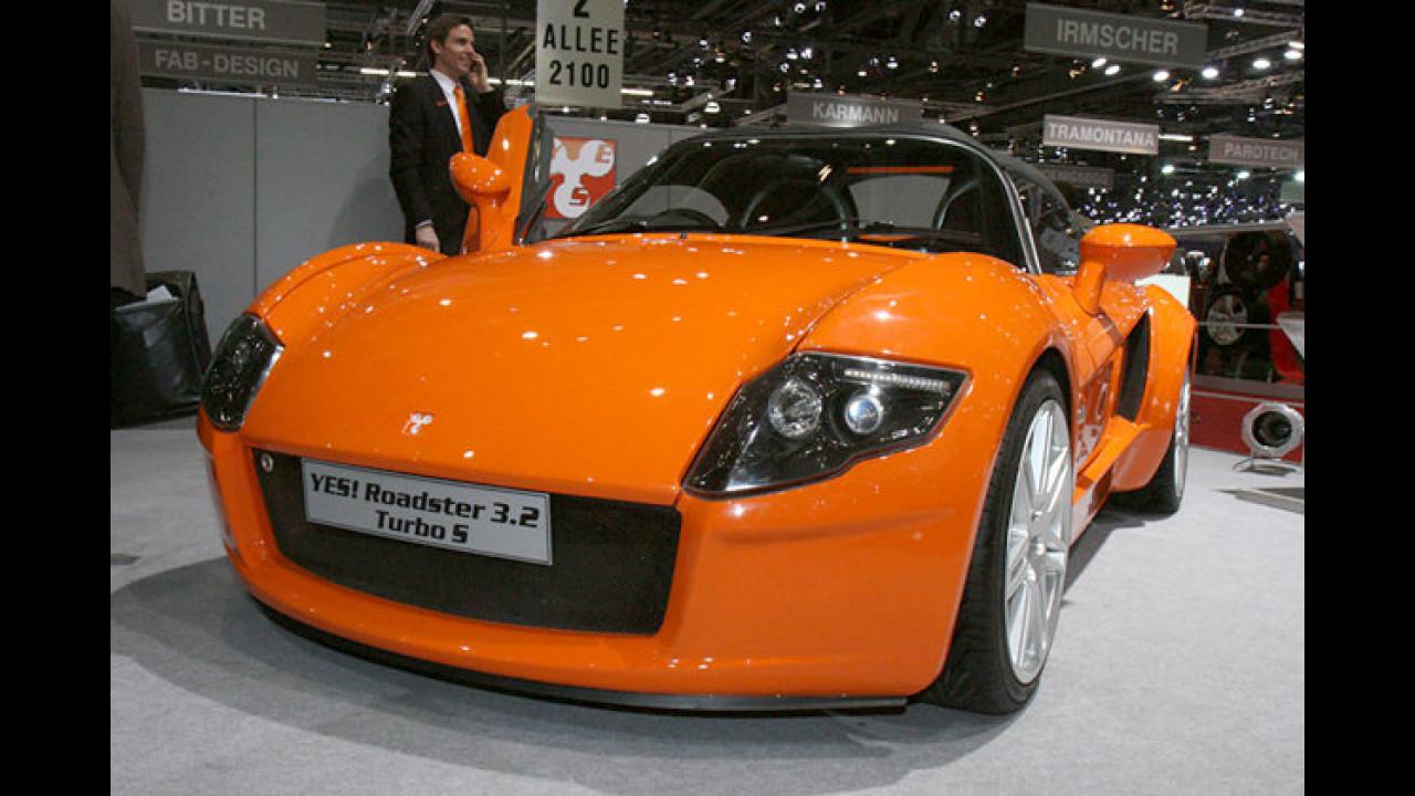 Heißer Sachse: Der Yes! Roadster 3.2 Turbo S katapultiert sich mit einem Leistungsgewicht von 2,24 Kilogramm pro PS in Supersportwagen-Regionen
