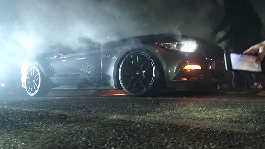 Mustang Burns After Donuts