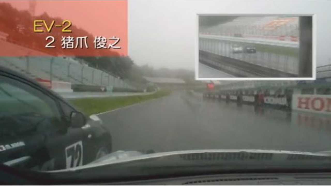 Nissan LEAFs Duel In The Rain On SUGO Race Track