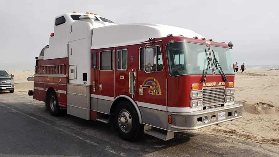 Fire truck, semi, and wrecker fused to create crazy motorhome