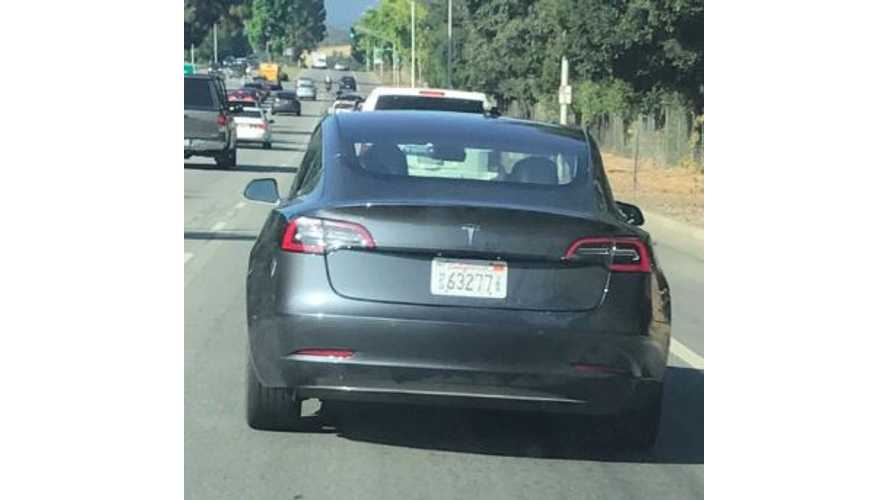 Gray Tesla Model 3 Spotted