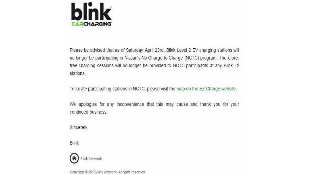 Blink Ends Its Participation In Free Level 2 Charging For Nissan's No-Charge-To-Charge Program