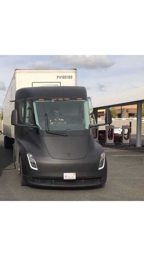 Tesla Semi Spotted Supercharging En Route To Fremont