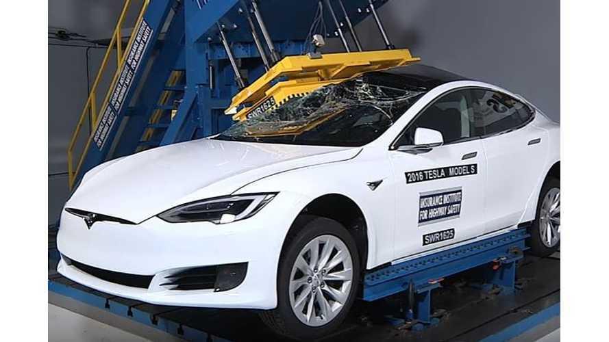 Tesla Model S Versus Roof Crusher - Video