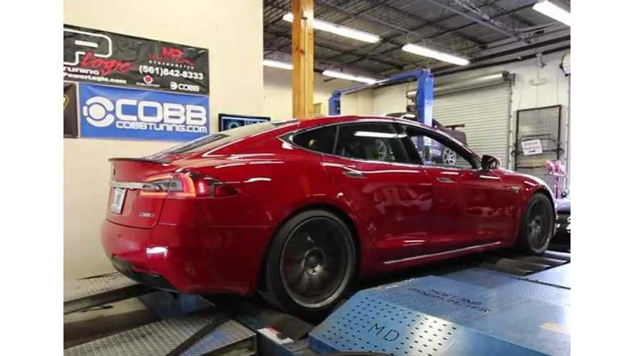 DragTimes Straps Tesla Model S P100D With Ludicrous + To Dyno - Video