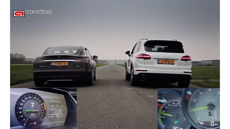 Tesla Model S Versus Porsche Cayenne S E-Hybrid - Drag Race Video