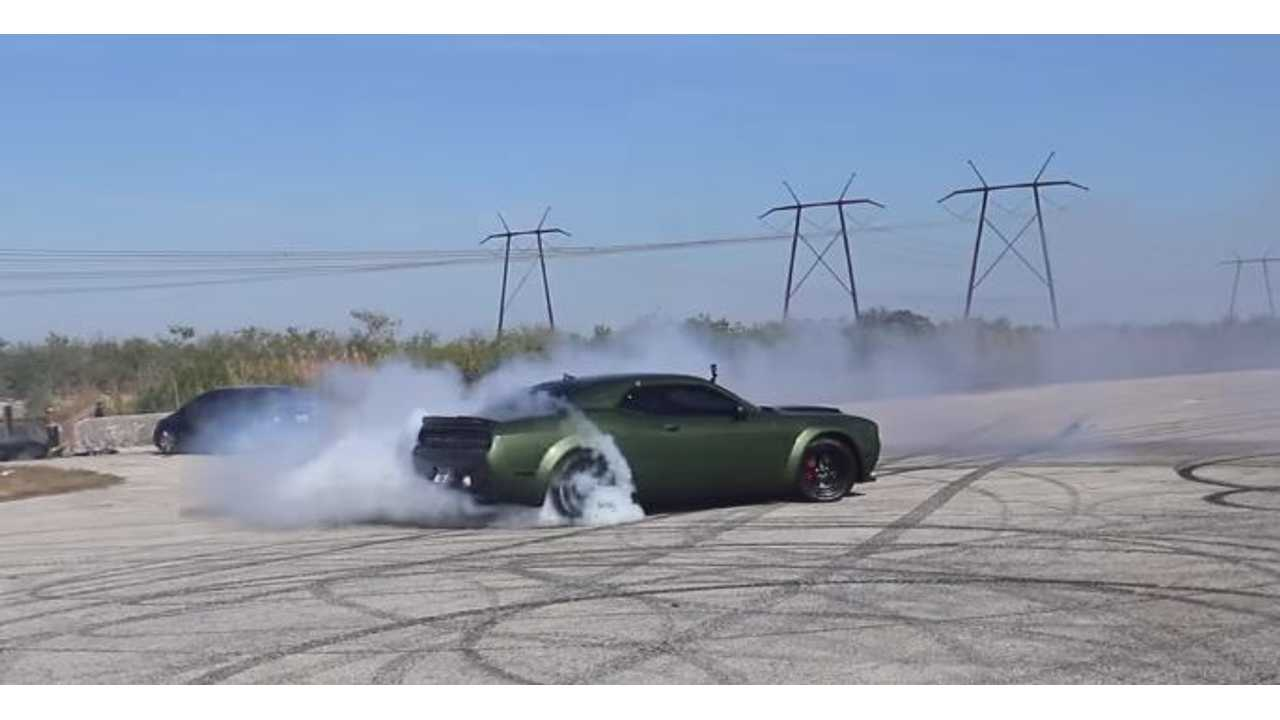 Watch Tesla Model S P100D Race Dodge Demon Off Drag Strip