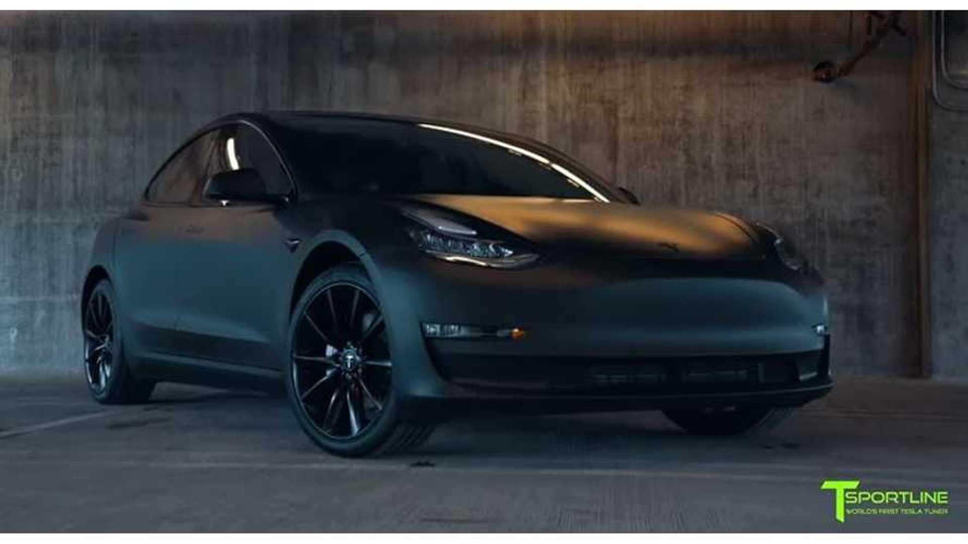 T Sportline S Tesla Model 3 Looks Like Matte Black Prototype