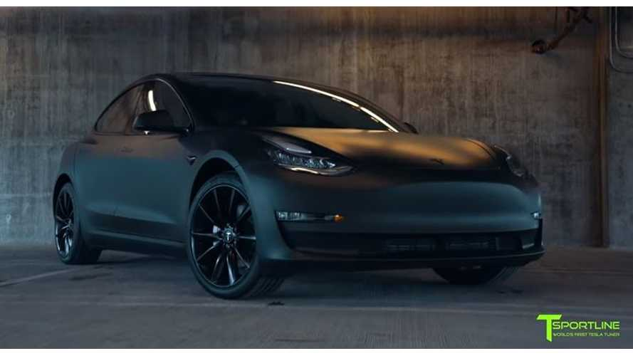 T Sportline's Tesla Model 3 Looks Like Matte Black Prototype