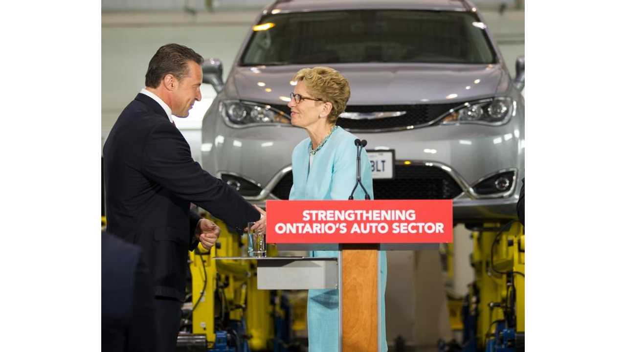 Reid Bigland, President and CEO, FCA Canada, joins Kathleen Wynne, Premier of Ontario, at the FCA Canada Automotive Research and Development Centre (ARDC) in Windsor, Ontario, on June 15, 2016. The Government of Ontario announced that it will provide up to $85.8 million in funding to FCA Canada to support enhanced research at the ARDC, plus advanced training at the FCA Windsor Assembly Plant.