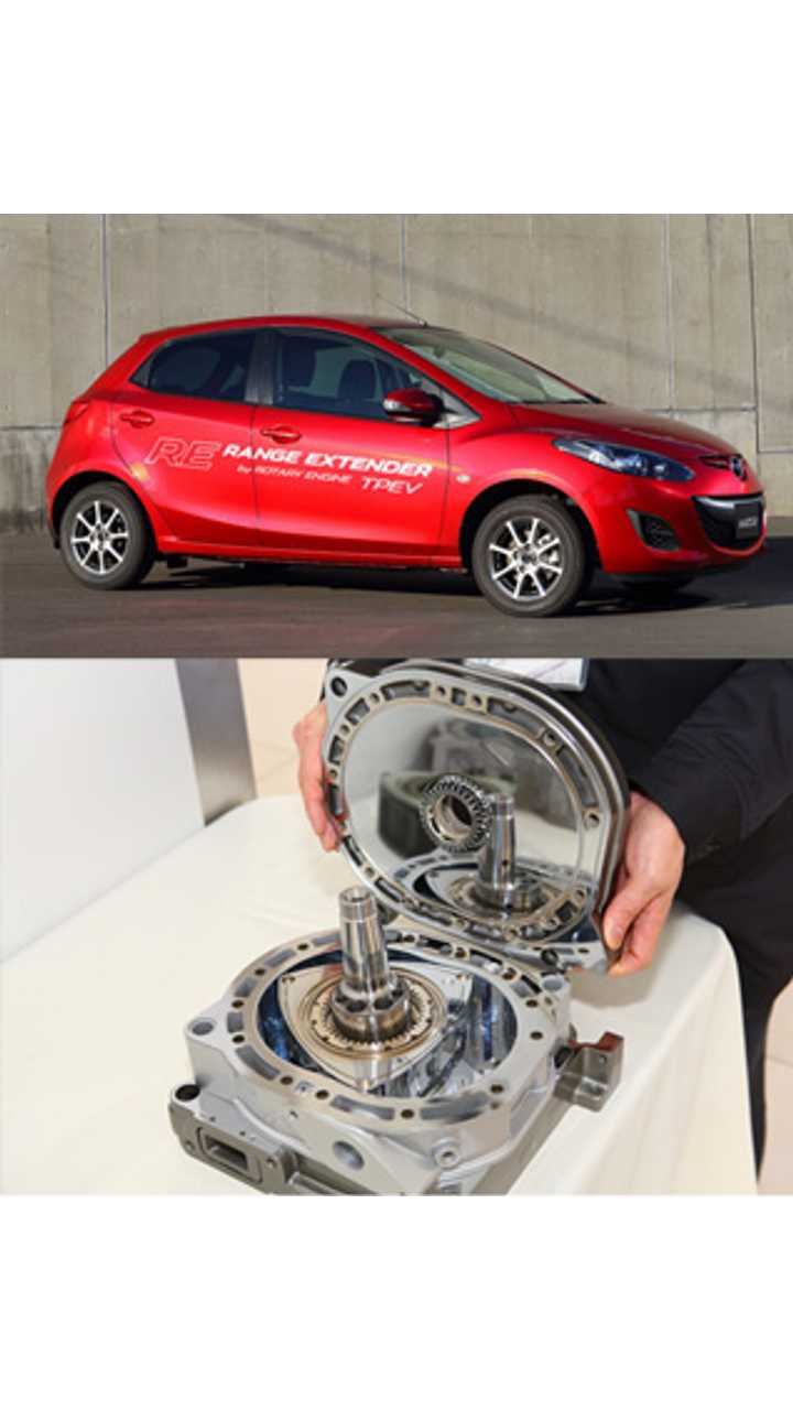 Mazda Demio EV fitted with a range extender.<br />lower:A small rotary engine unit used as a range extender
