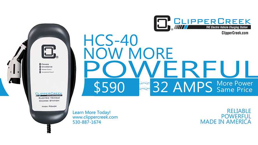 ClipperCreek Ups Power Of HCS-40 From 30 To 32 Amps - Price Remains The Same At $590