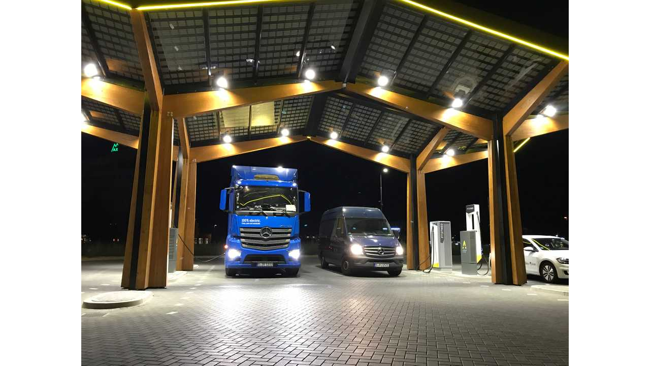 Mercedes Electric Trucks Show Up At Fastned Station