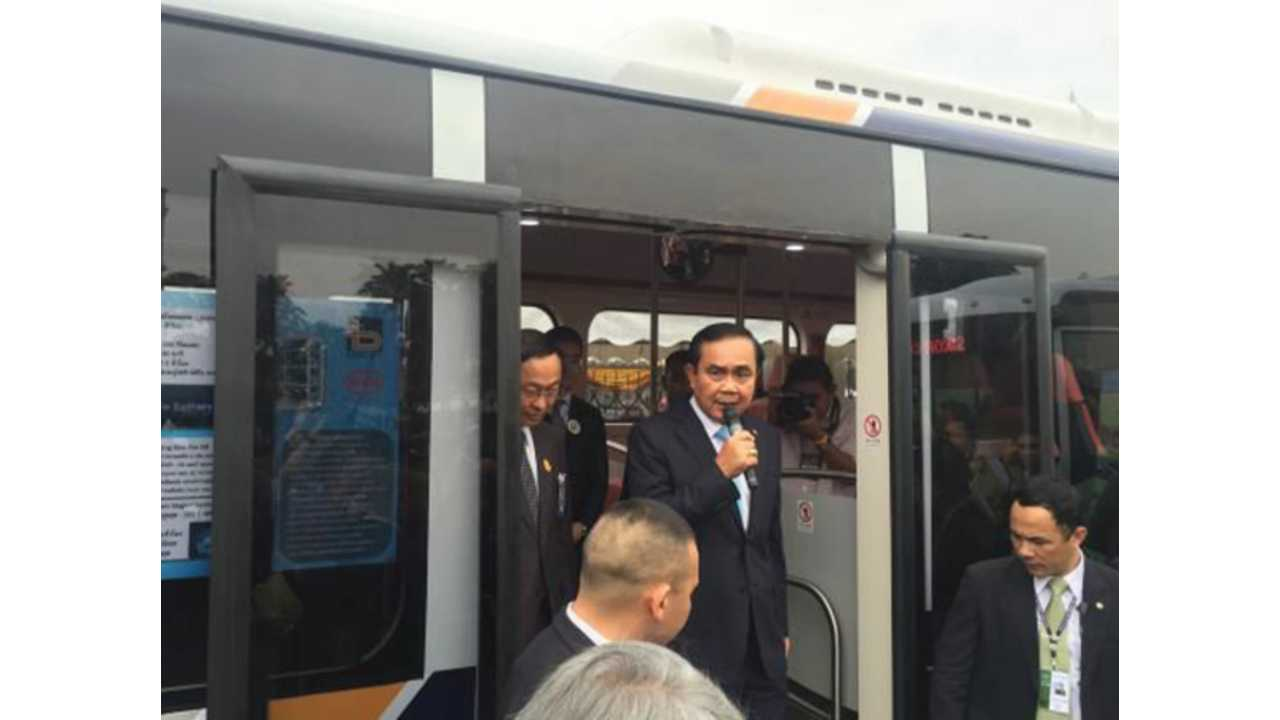 Thai Prime Minister Prayut Chan-o-cha on the BYD K9, announcing the launch of Thailand's first electric bus<br />tender