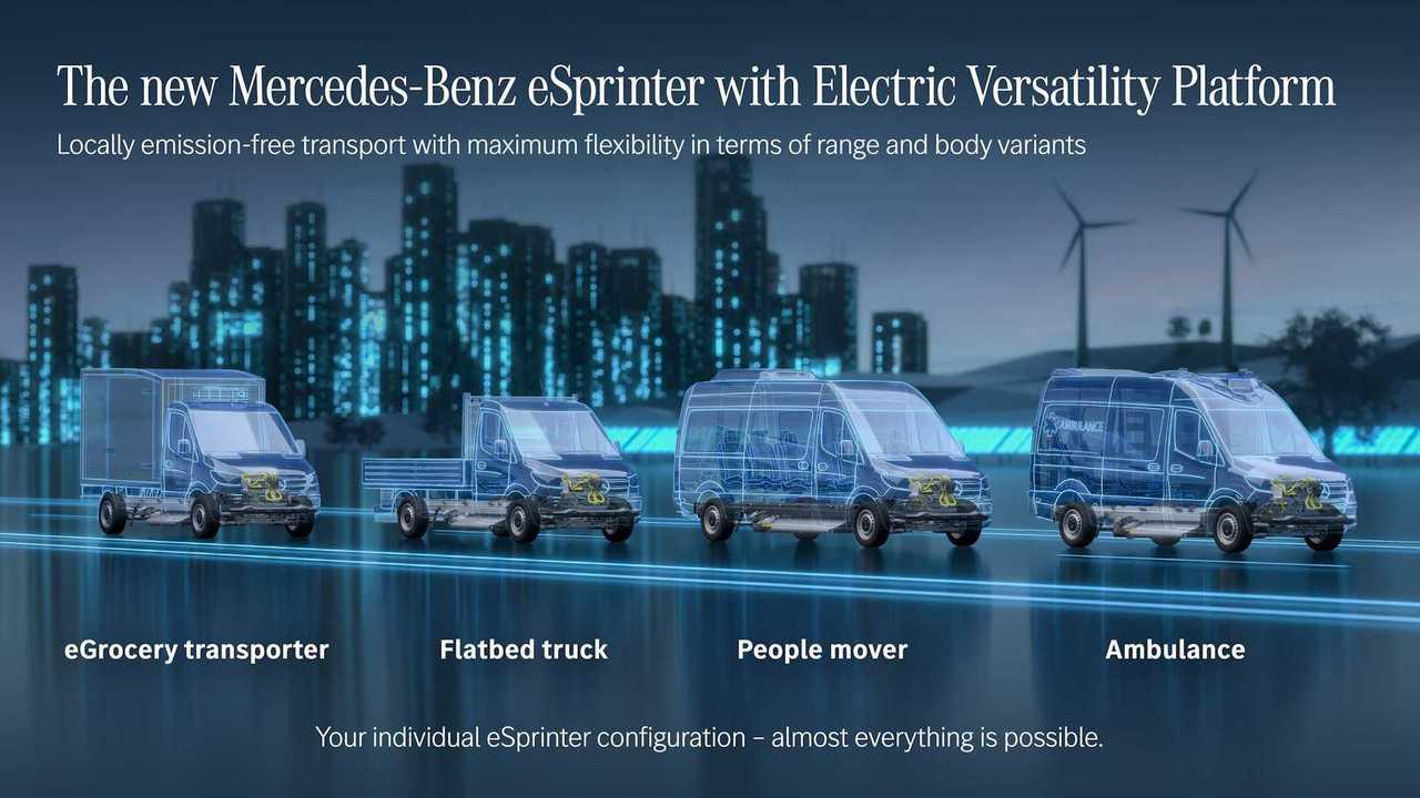Mercedes-Benz Sprinter'ın elektrikli versiyonu eSprinter ailesi.