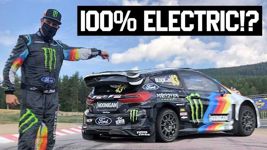 Watch Ken Block test and hoon first fully electric rally cross car