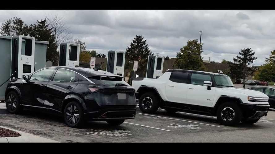 GMC Hummer EV And Nissan Ariya Spotted At EA Charging Station