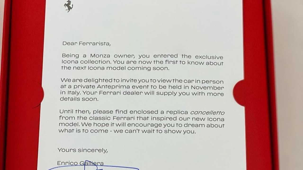 Carta de invitación para la presentación del Ferrari Icona