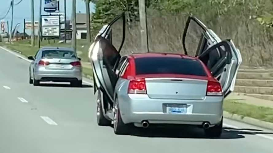 Charger Cruising With Four Scissor Doors Open Is The Epitome Of Weird