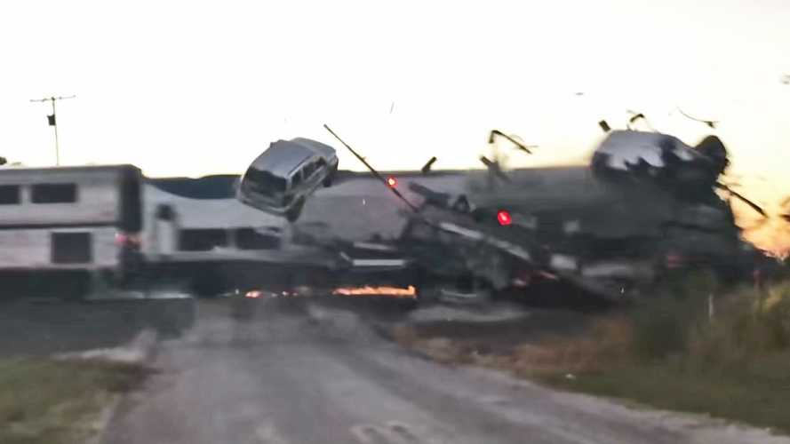 See Train Crash Into Semi Loaded With Cars On Oklahoma Crossing