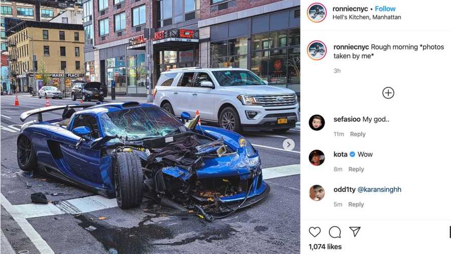 This tuned Porsche Carrera GT just smashed up in NYC
