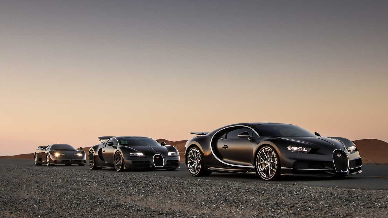Bugatti Chiron, Veyron, and EB110 Pose In Dubai