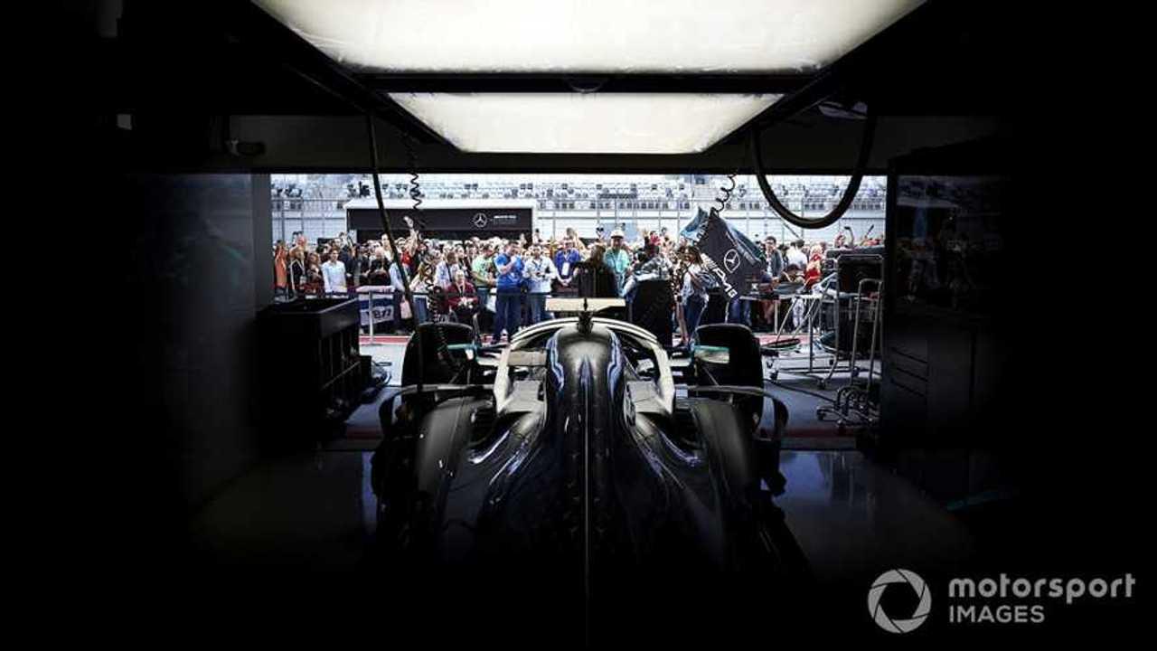 Mercedes AMG F1 W10 in garage at Russian GP 2019