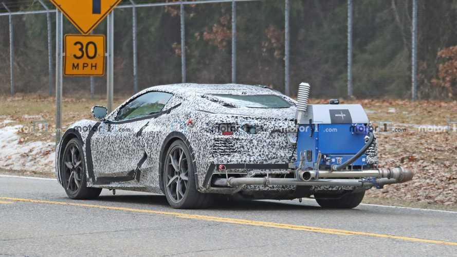 New Chevy Corvette C8 Spy Photos Show Odd Emissions Testing Rig