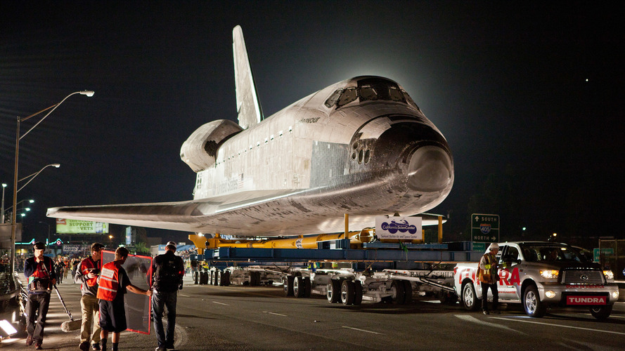 2012 Toyota Tundra tows the Space Shuttle Endeavor