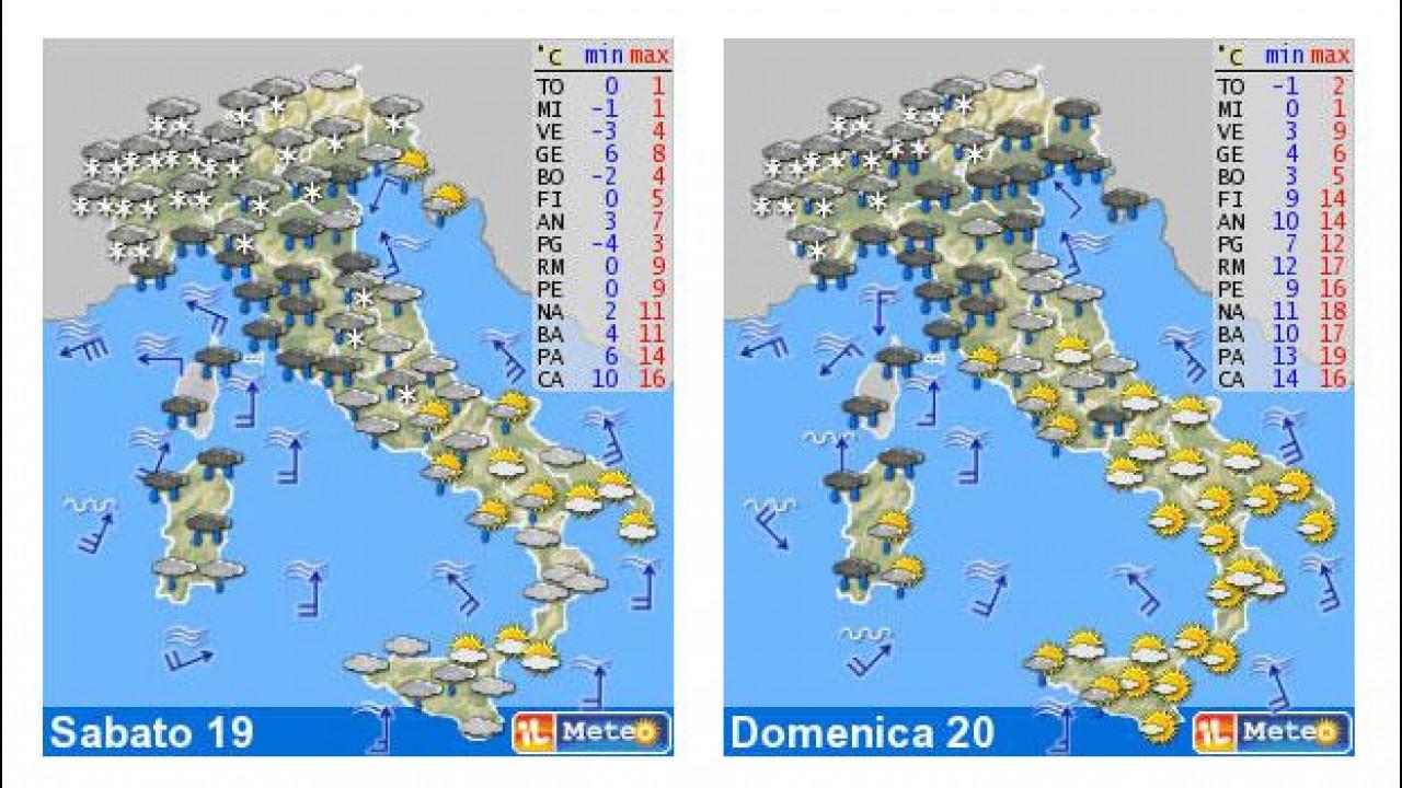 [Copertina] - Il meteo del fine settimana 19-20 gennaio: neve sull'Italia