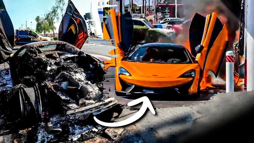 McLaren 570S Unrecognizable At A Gas Station With Burnt Rear End