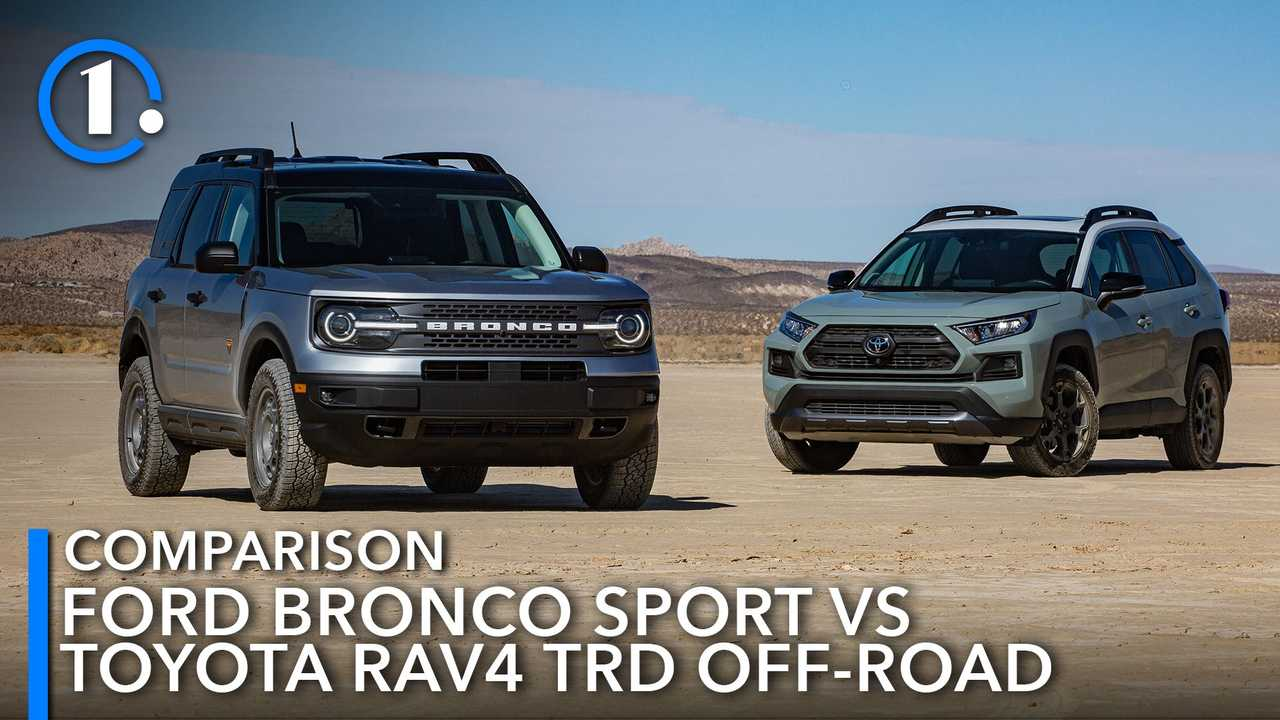 2021 Toyota RAV4 TRD Off-Road and Ford Bronco Sport Badlands in the dirt